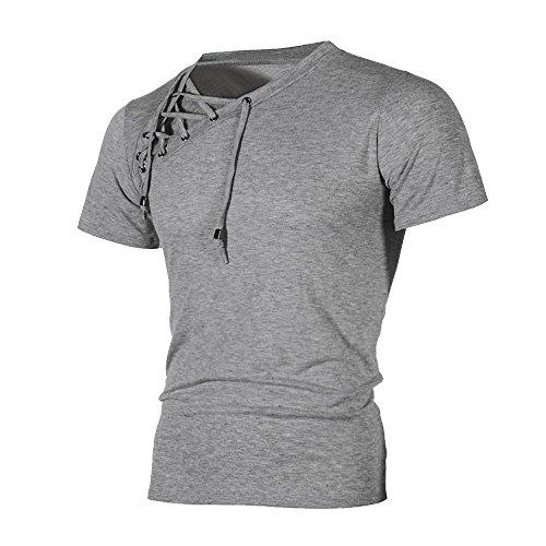 OSYARD Herren Männer Sweatshirts Oberteile,Mode Persönlichkeit Bandage Männer Casual Slim Kurzarmhemd Top Bluse T-Shirt Rundhalsausschnitt Oberseiten Streetwear Tunika Kleidung,S-3XL