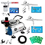 Voilamart Complete Airbrush Kit with Compressor 1/6HP High Performance Quiet Compressor 0.35mm 5cc/22cc Dual Action Air Brush Gun Nail Tattoo Art Paint Makeup Cake Decoration Car Paint Brush