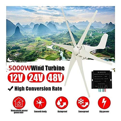 N / A 5000 W 12 V / 24 V / 48 V Windgenerator + Steuerung, 6 Klingen, Windräder, horizontal, für Zuhause, Nylonfaser, 24V