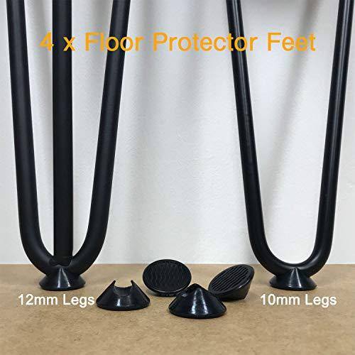 Haarnadel-Beine, Fußschutz, freundlich auf Hartboden, rutschfeste Gummigleiter, universal für 10 und 12 mm Stahlstange, schwarz