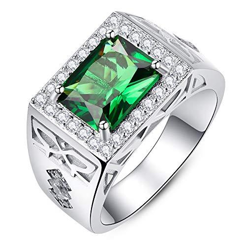 Bonlavie Herren Ringe 925 Sterling Silber Mit Grün Smaragd Zirkon CZ Mode Einfachen Ringe für Partner Eheringe Verlobungsring