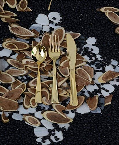 Adorn Plastic Gold cutlery 50 Servings Set | Includes 100 Gold forks, 50 Gold spoons, 50 Gold knives.| 200 Count