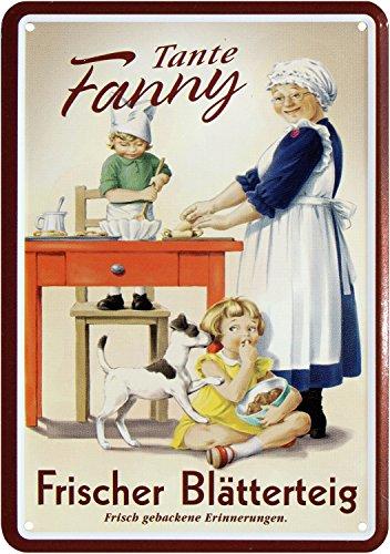 Blechpostkarte BLÄTTERTEIG VON Tante Fanny 10x14cm Blechkarte PKM 86