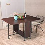 Drop Leaf Dining Table, Moveable Expandable Table with Large Storage and Lockable Wheels