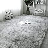 OYIMUA Hochflor Teppich 160×230 cm Grau Weiss, Moderner Flauschig Teppich Wohnzimmer Kinderzimmer...