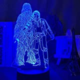Lámpara de noche 3D con película Chewbacca y Han Solo Figura LED para niños Decoración Dormitorio Ambiente Luz Lámpara de mesa alimentada por pilas