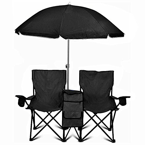 GoTeam Portable Double Folding Chair w/Removable Umbrella, Cooler Bag and Carry...
