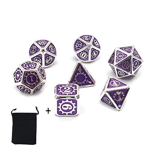 DollaTek Dadi poliedrici 7PCS in Metallo con Custodia Nera per Giochi di Ruolo Dungeons And Dragons D&D Insegnamento della Matematica (Nero)