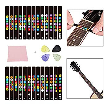 2 Sheets Guitar Fretboard Stickers Learn Guitar Tabs For Beginners Guitar Note Decals Sticker Tool + 8 Guitar Picks  Electric & Acoustic Guitars