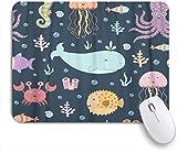 HASENCIV Alfombrilla de Ratón,Colorido Aqua Sea Life Lindo con Ballena Pulpo Medusa Cangrejo Caballito de mar y Globefish Acuario Acuático,Alfombrilla de ratón Gaming,Mouse Pad