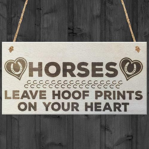 Pinggooo Holzschild, Pferde mit Hufdruck auf Ihrem Herz, Shabby-Chic-Stil, Geschenk für Pferdebesitzer