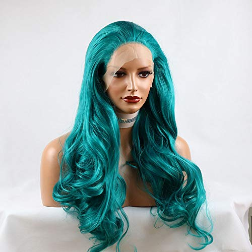 SimBeauty Dark Blue Color Long Natural Wave Front Lace Wigs Cosplay & Drag Queen Make up Heat Resistant Fiber Hair Synthetic Wigs for Women (Blue)