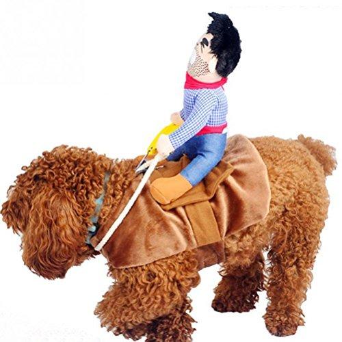 UEETEK Haustier Kostüm Hund Kostüm Kleidung Haustier Outfit Anzug Cowboy Rider Style, passt Hunde Gewicht unter 7 KG) - Größe S