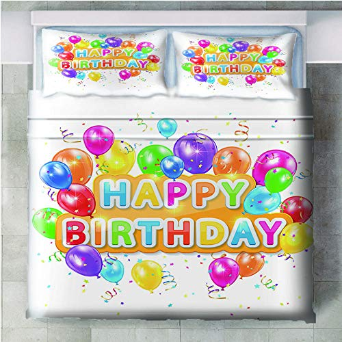 GenericBrands 3 piece bedding set happy Birthday - 140x200cm(55x79 inch) 3 Pieces Bedding Set with 2 Pillowcases Duvet Cover with Zipper Closure Soft Microfiber Quilt Cover