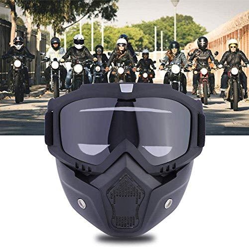 YIQI Motocicleta Gafas de máscara de Motocross con extraíble y Filtro de Boca para Vintage Cascos (Marco Negro, Lente Transparente)