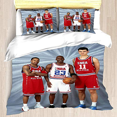 Juego de funda nórdica Asociación nacional de ropa de cama para jugadores de baloncesto Playoffs Finales Allstar Super Star Baller One-One-One Defense Edredón con 2 fundas de almohada Semifinales de l