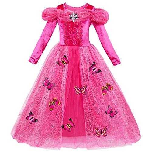 YOSICIL Traje de Princesa Vestido de Fiesta Disfraz de Princesa Vestido Tul con Accesorios Mariposa Traje Parte de Cumpleaños Regalo para Halloween Navidad Fiesta Costume para Niñas 3-9 Años