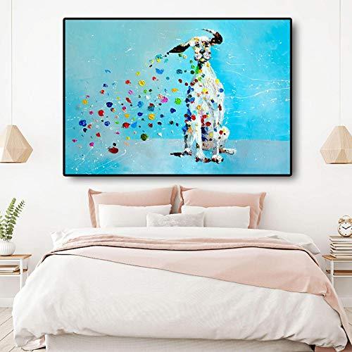 Dibujos animados coloridos Graffiti Art Perro Lienzo Pintura Arte de la pared Carteles Impresiones Cuadros de la pared para la sala de estar Decoración del hogar 60X90cm Sin marco