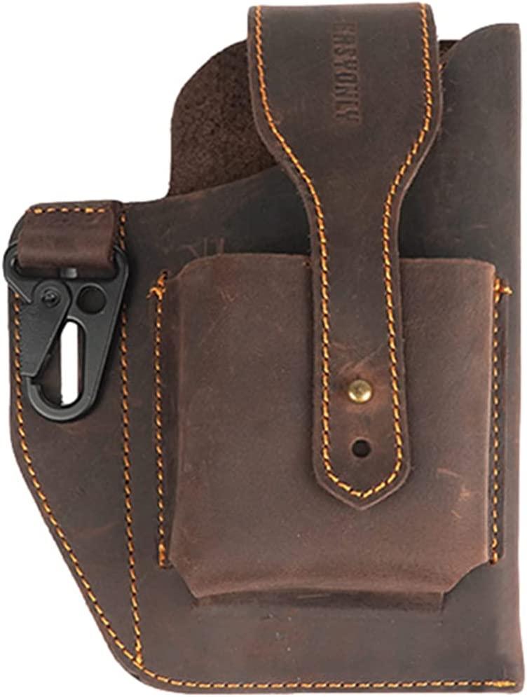 Leather Belt Waist Bag, Cell Phone Case Holster, Card Bag,Key Fob for Men EDC Leather Pouch (Brown)
