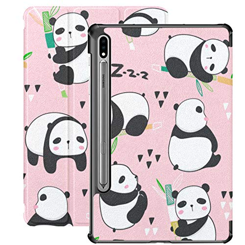 Funda Galaxy Tab S7 Plus con Soporte para bolígrafo S Kawaii Panda Bears Cute Pandas Varios Funda de Piel sintética para Samsung Galaxy Tab S7 Plus 12,4 Pulgadas 2020, Funda Galaxy Tab S7 Plus con AC