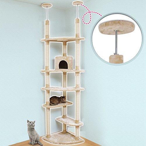 アイリスプラザキャットタワー突っ張り人気大型猫つめとぎ付き突っ張りツインベージュH223×W78×D54cm