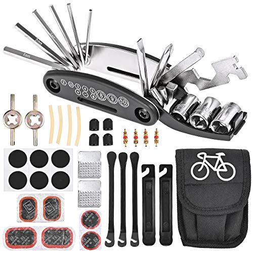Nabance Bike Tool Kit Repair Kit Bicycle Multi Tool Tire Puncture Kits Patch Levers Tyre Spoons 16 in 1 Multifunction Tool Set with Bag for Mountain Bike Road Bikes