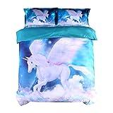 Beddinginn Juego de funda de edredón de unicornio para niñas con diseño de unicornio en 3D, color blanco y blanco