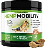PetHonesty Hemp Hip & Joint Supplement for Dogs w/Hemp Oil & Hemp Powder - Glucosamine Chondroitin for Dogs w/Turmeric, MSM, Green Lipped Mussel, Dog Treats Improve Mobility,Reduces Discomfort - Bacon