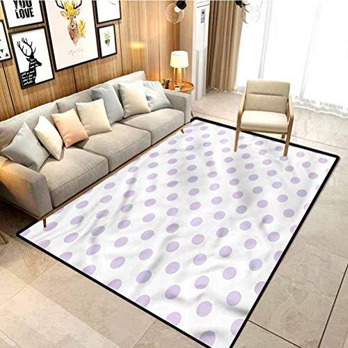 Lavender Children's Rug Polka Dots Classical Tile Carpets for Home Living Room/Bedroom/Kitchen Mats W5xL7 Feet