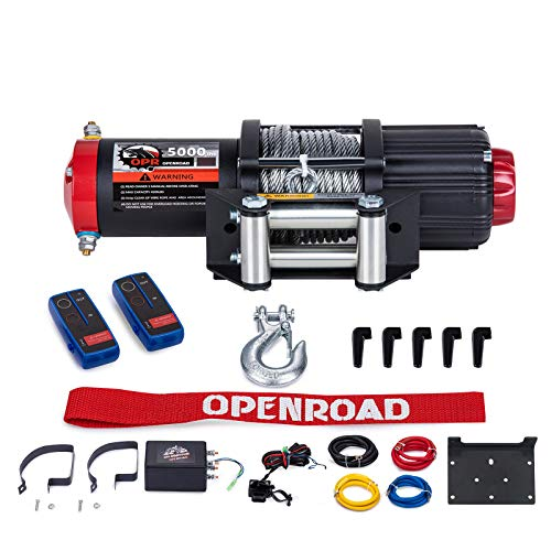 OPENROAD 5000 lb ATV Winch,12V DC Electric Winch with Cable,Wireless Remote Control Kit for UTV Winch, Recovery Winch Kit