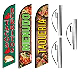 Tacos Burritos Menudo Taqueria Mexican Restaurant Advertising Feather Flag Kits Package, Includes 3 Banner Flags, 3 Flag Poles, and 3 Ground Stakes