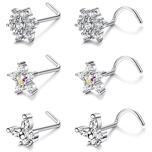 IRONBOX 6Pcs 20G Flower Nose Rings L Shaped Stainless Steel Nose...