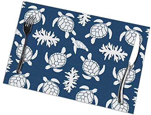 Juego de 6 manteles individuales para mesa de comedor, buceo, bandera de buceo, pintado a mano, lavable, para mesa de cocina, 30,5 x 50,8 cm