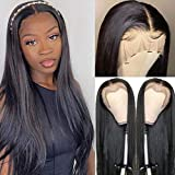 Beauty Queen Hair Lace Front Wigs Human Hair Brazilian Straight Human Hair Wigs for Black Women 150% Density T Part 13x4 Ear to Ear Lace Frontal Wigs Pre Plucked with Baby Hair Natural Color