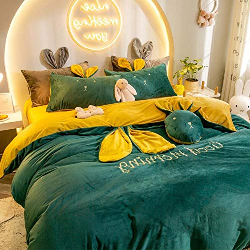 R&P Winter Crystal Velvet Comforter Cover Set 4-Pcs Double-Sided Velvet Flannel Duvet Cover Set, Rabbit Shape, with Pillow Cases and Bed Sheet,Green,220x240cm