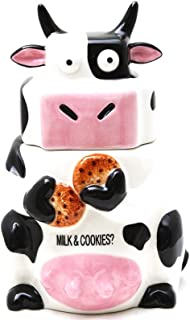 Ceramic Cow Cookie Jar Black / White, 10 inches H