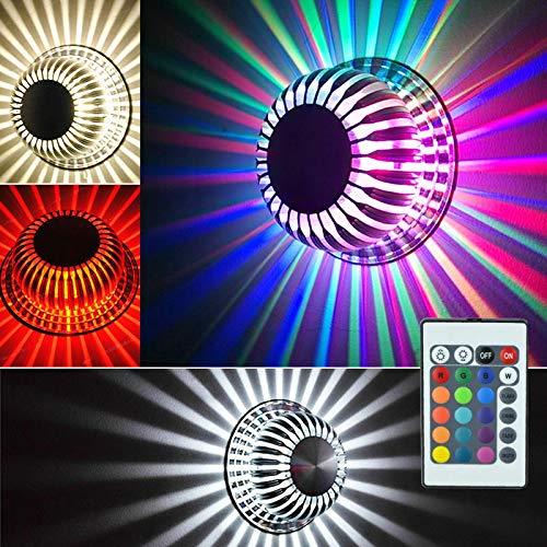 RANZIX RGB LED 3W Farbwechsel Deckenlampe Wandleuchte mit 24 Tasten Fernbedienung Dimmbar Wandlicht Deckenleuchte Effektlicht Flurlampe für Schlafzimmer Balkon Wohnzimmer Party Nachtklub Nightclub