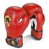 Flexzion Guantes de Boxeo para Niños y Jóvenes para la Edad de 5-10 Años, 6 Onzas, Guantes Junior Mitts, Guantes de Entrenamiento, Guantes de Combate, Ejercicio Kickboxing, Muay Thai, Color Rojo