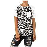 TOPKEAL - Camiseta de Manga Corta y Cuello Redondo para Mujer, diseño de Estampado de Leopardo Blanco XXL
