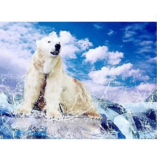 Hanzeze 5D gör-det-själv diamantmålning vit björn på klippan – strassbroderi korsstygn duk målning full borr konst vuxna barn gåvor hem väggdekor 30 x 40 cm