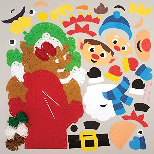 Baker Ross FC157 Marionetas de Mano para Navidad - Paquete de 4, Marionetas para Niños, Ideal para Fiestas y Cuentos Infantiles