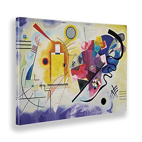 Giallobus - Quadro - Vassily Kandinsky - Giallo Rosso e Blu - Tela Canvas - 140x100 - Pronto da Appendere - Quadri Moderni per la casa