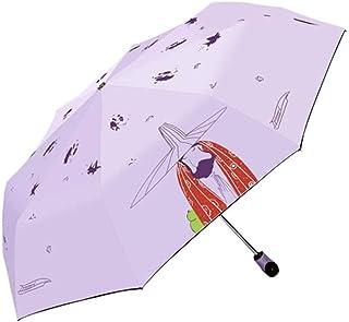 ZYSWP Outdoor Fully Automatic Umbrella,UV Protection Sunny and Rain Dual Use Folding Sun Umbrella (Color : Purple)