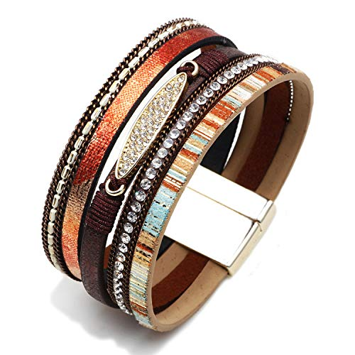 MallDou Jewelry Tree of Life Wrap Boho Leather Wide Cuff Handmade Wristbands Braided Magnetic Buckle Bangle Bracelet Gift for Women Girl (Zircon Brown)