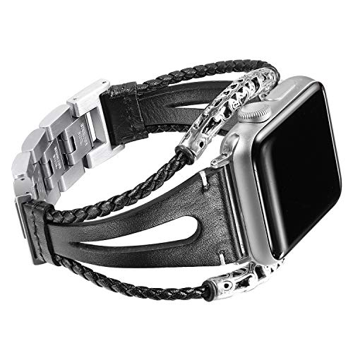 Secbolt Leather Bands Compatible Apple Watch Band Series 4/5/6 44mm, Series 3/2/1 42mm, Double Twist Handmade Vintage Natural Leather Bracelet Replacement Straps Women Black 1