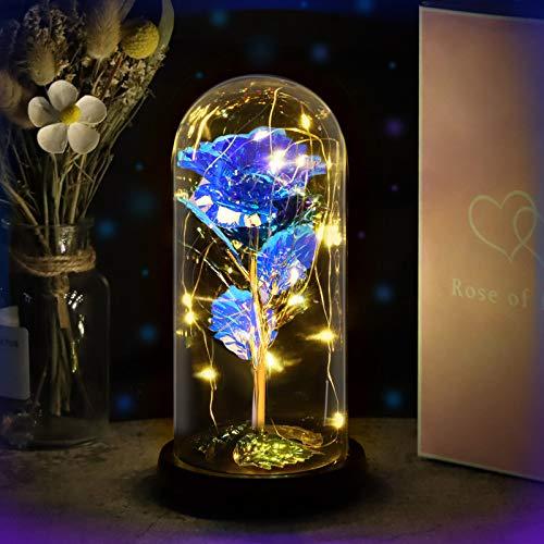 Yodeace Rosa Eterna Azul, Flor Azul Artificial En Cúpula de Cristal con Luz LED Tarjeta de Felicitación para San Valentín Cumpleaños Boda Aniversario Regalo Decoración para El Hogar