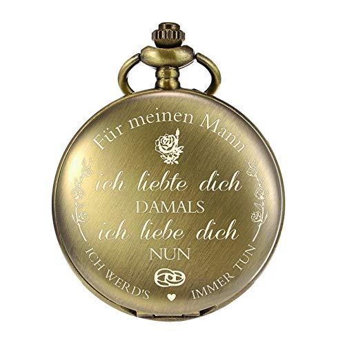 TREEWETO Taschenuhr mit Gravur Kette Herren Bronze Geschenk zum Geburtstag Hochzeitstag Jahrestag Ehemann