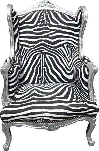 Casa Padrino Barock Lounge Thron Sessel Ohrensessel Zebra/Silber - Limited Edition