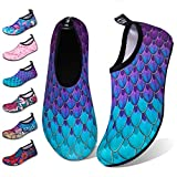 Water Shoes for Womens Mens Barefoot Quick-Dry Aqua Socks for Beach Swim Surf Yoga Exercise New Translucent Color Soles (Fishscale-Bluegreen, 38/39)