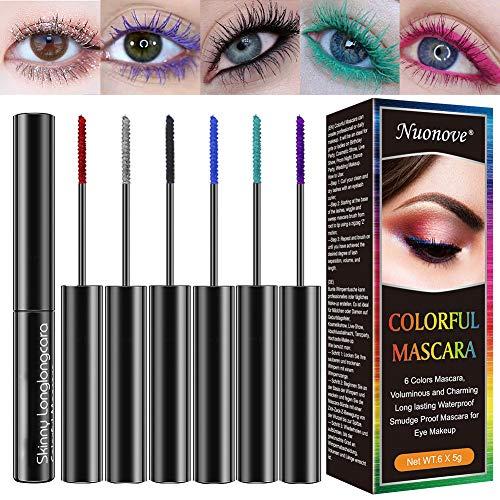 Bunte Wimperntusche, Bunte Mascara, Wimperntusche Set, 4D Silk Fiber Lash Mascara für Langlebige wasserfeste wischfeste Wimperntusche für Augen Make-up, 6 Farben